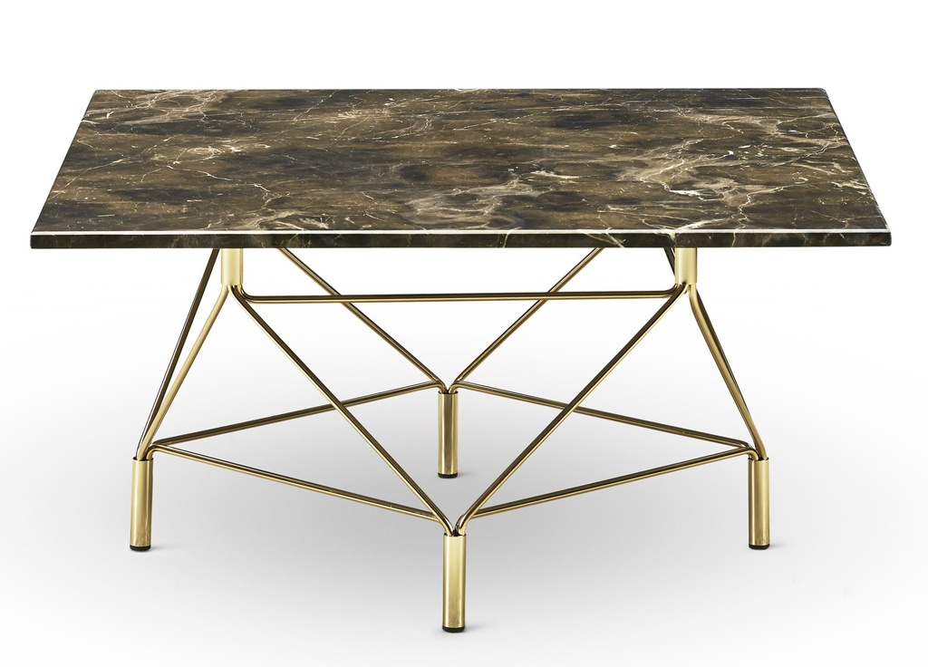 Spider Coffee Table Square 80 x 80 cm / Brown marble / Brass