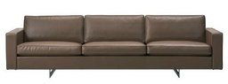 Risom 65 Sofa 3-seater Metal base - Model 6563 / Leather Premium 73 Dark Clay
