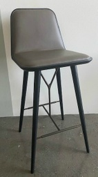 Spine Wood Base Barstool - Model 1731 / Black lacquered / Leather Premium 73 Dark clay