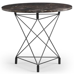 Spider Side Table Round 60 cm / Brown marble / Black