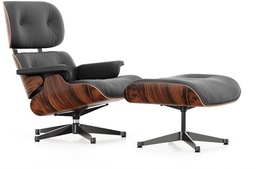 Eames Lounge Chair & Ottoman - Santos Palisander / Leather Natural Black