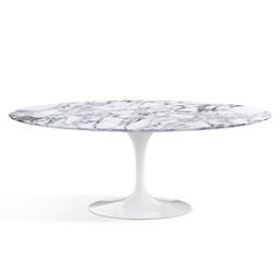 Saarinen Oval Dining Table 244 / White / Arabescato marble Coated